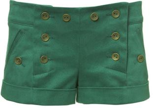 Emerald Twill Shorts From Topshop
