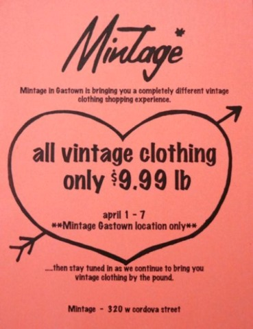 Clothing By The Pound Sale @ Mintage Vintage In Gastown