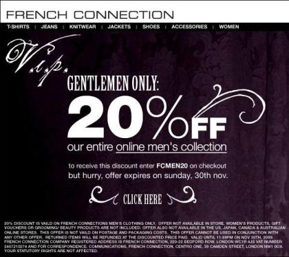 20% Off Entire French Connection Men's Collection This Weekend Only