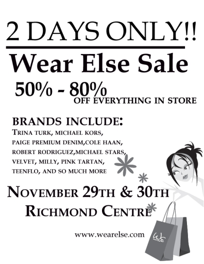 50-80% Off Everything In Store @ Wear Else In Richmond This Weekend!