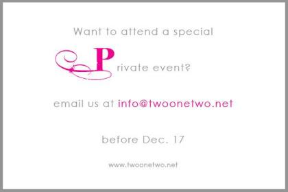 (212) Private Event Registration Details