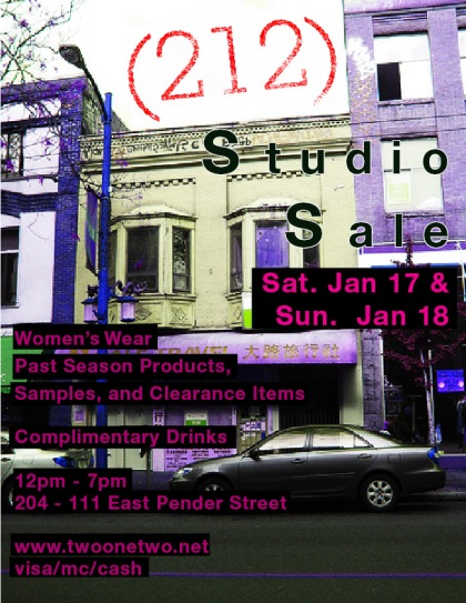 (212) Sample Sale on Jan 17 + 18th on East Pender In Vancouver