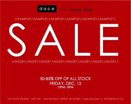 Dace Sample Sale In Gastown This Friday