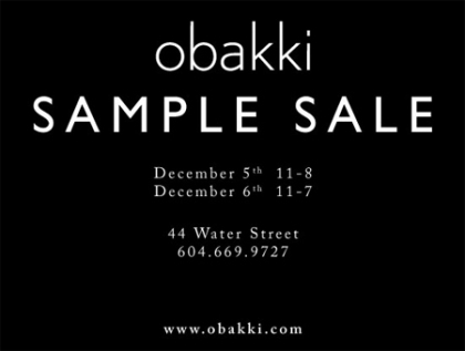 Obakki Sample Sale TODAY!