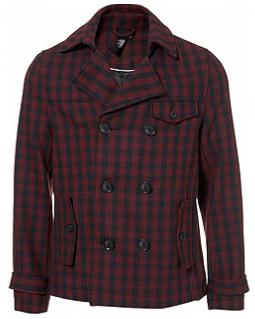 Burgundy Gingham Peacoat By Topman